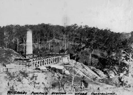 Mount Crosby Pumping Station Under Construction 1891 State Libraryof Queensland