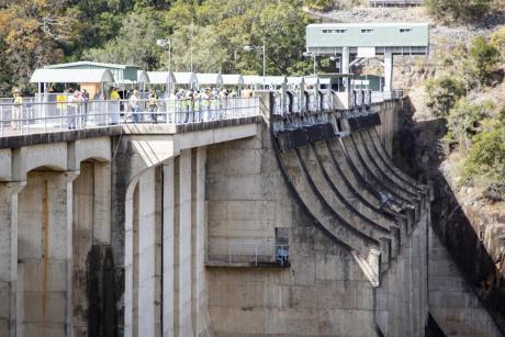 Community members get a rare tour inside the historic Somerset Dam wall