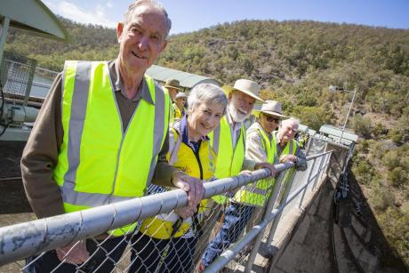 The grandchldren of H.P. Somerset (l-r) Charles Somerset, Sue Rice, Bill Somerset, Bob Somerset and Arthur Somerset stand on the Somerset Dam wall (3).jpg