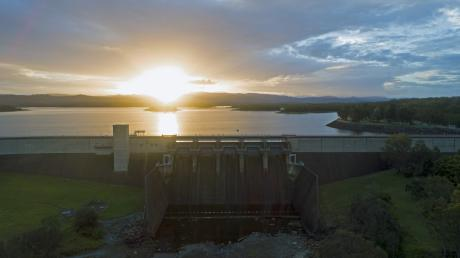 Sun setting at North Pine Dam. Photo credit Peter Hansler
