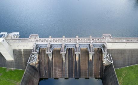 Birds eye view of North Pine Dam wall. Photo credit Peter Hansler