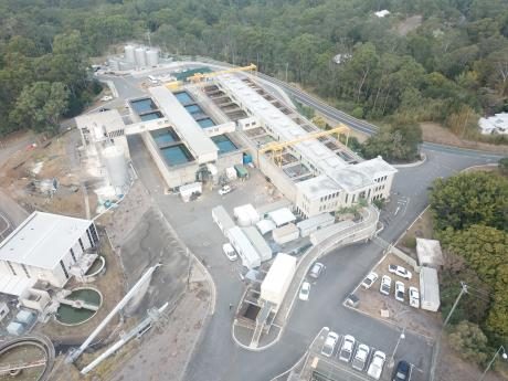 Birds eye view of East Bank Water Treatment Plant Filter upgrade at Mount Crosby