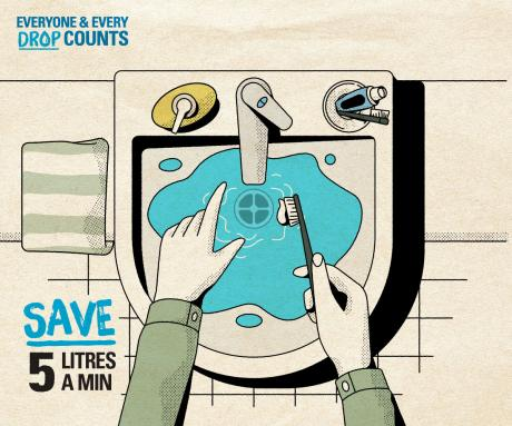 Everyone and Every Drop Counts Campaign artwork - saving water brushing your teeth