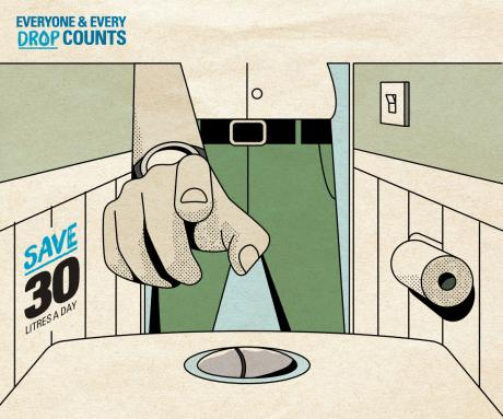 Everyone and Every Drop Counts Campaign artwork - saving water using half flush