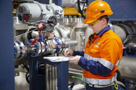 Gold Coast Desalination Plant  Operator-Maintainer Michael Rae inspecting equipment at the facility