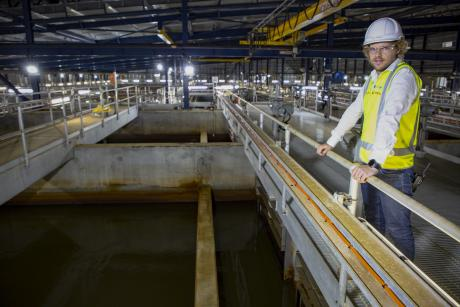 Gold Coast Desalination Plant  Project Engineer Daryl Harding pictured in the facility's pre-treatment room