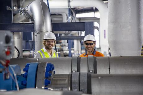 Gold Coast Desalination Plant Maintenance Planner Brian Woods and Project Engineer Daryl Harding pictured in the facility's reverse osmosis room