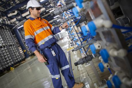 Gold Coast Desalination Plant Maintenance Planner Brian Woods undertakes an inspection of the facility's reverse osmosis room