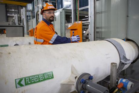 Gold Coast Desalination Plant Manager Operations Supervisor Filippo Vico conducting work in the facility's pump room
