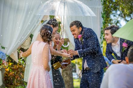 This is an image of wedding day rain