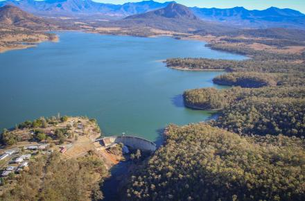 Aerial view of Lake Moogerah during a cone valve release
