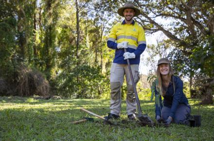 Seqwater Field Ranger Mitchell Thomas-Carr and Gold Coast Catchment Association Executive Officer Rosalinde Brinkman are inviting people to take part in the Gold Coast Biggest Tree Planting Day - Copy.jpg