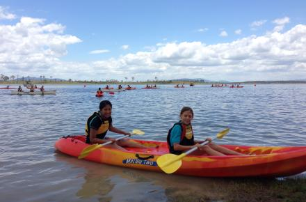 Paddlers enjoy a day on the water at an Seqwater lake