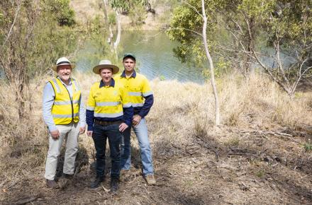 Ipswich West MP Jim Madden at the Mt Crosby Weir Nature Refuge with Mark Waud from Healthy Land and Water and Greg Greene from Seqwater