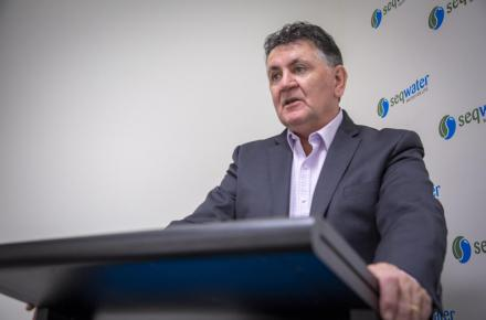 Seqwater CEO Neil Brennan during press conference