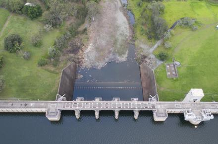 Downstream view of North Pine Dam. Photo credit Peter Hansler