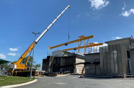 The installation of a gantry crane at the Mt Crosby East Bank WTP ahead of it's filtration upgrade