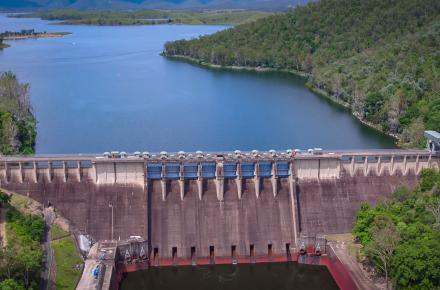 Aerial shot of Somerset Dam.