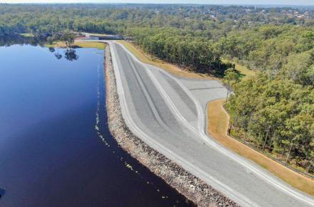 The upgraded Sideling Creek Dam Wall