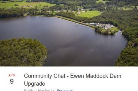 Thumbnail of the Ewen Maddock Dam upgrade Facebook Live chat session
